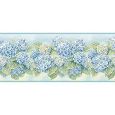 Blue Mountain Hydrangea Wallpaper Border, Blue and White Hydrangea Colors, Hydrangea Bouquet, Hydrangea Not Blooming, Hydrangeas, Fabric Blinds, Curtains With Blinds, Hydrangea Wallpaper, Decoupage, Wallpaper Companies