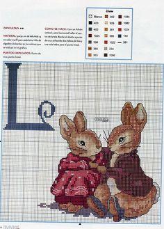 A través de Melissa Seymour ... Beatrix Potter rabbits cross stitch pattern