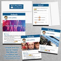 Social media Instagram Bar Mitzvah invitation set 10th Birthday Parties, Birthday Party Themes, Birthday Party Invitations, Bat Mitzvah Party, Bar Mitzvah, Invitation Card Design, Invitation Set, Engagement Party Themes, Fun Party Themes