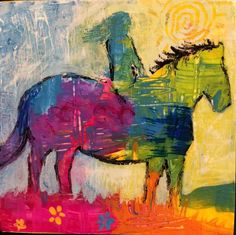 Original Horse Painting Rider Sunny Overlook by Caren by caren