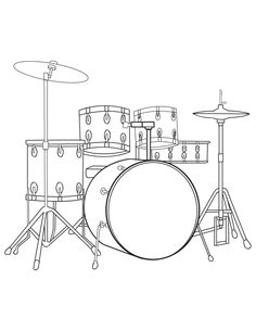 A Drum Kit Coloring Page PDF Download Is Available At