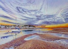 Torridge River Sunset at Instow. Oil Painting on canvas by Roger Turner. Instow a village in north Devon. View shows Appledore on the opposite bank The View Show, Step By Step Painting, Original Art For Sale, Fishing Villages, Oil Painting On Canvas, Illustrators, Waves, Sunset, Beach