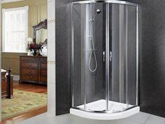 Chrome quadrant shower enclosure ctm bath rooms for Tempered glass countertop vs granite