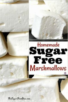 This is how to make homemade sugar free marshmallows. This is how to make homemade sugar free marshmallows. Sugar Free Baking, Sugar Free Treats, Sugar Free Desserts, Sugar Free Recipes, Sugar Free Kids Snacks, Diabetic Desserts, Low Carb Desserts, Low Carb Recipes, Diabetic Foods