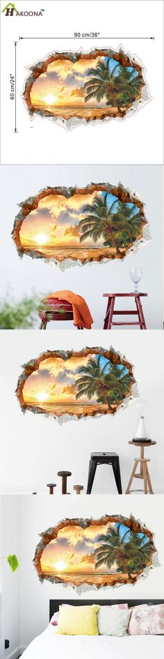 HAKOONA Customized Sunny Beach 3D Walls Stickers 36'x24' Home Decor Living Room Bedroom Background Waterproof Removable $10.5