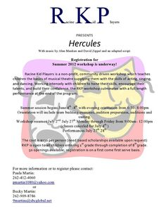 R U a Drama Mama? Racine Kid Players presents Hercules!  Read more... http://myemail.constantcontact.com/R-U-a-Drama-Mama--test-2.html?soid=1102752268182=lz_AQRVryew#