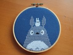 Totoro cross stitch!  LOVE Totoro ... you only see him when you're very young, a magical adventure for you!