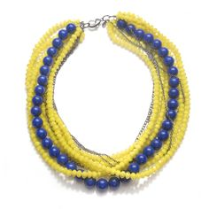 yellow torsade | Yellow and Blue Torsade Necklace