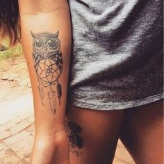 2017 trend Women Tattoo - Cute Owl with Dream Catcher Tattoo...