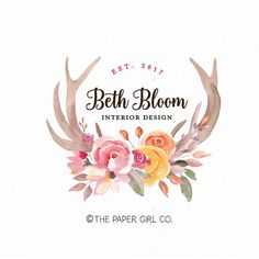 deer antler logo boho chic logo premade logo design wedding