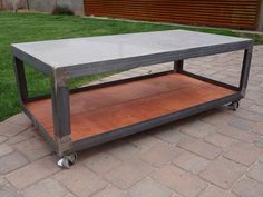 Polished concrete and steel coffee table