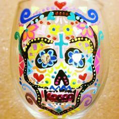 Sugar skull painted wine glass