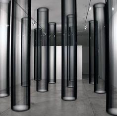 Zilvinas Kempinas (b.1969, Lithuania) - Columns, magnetic tape, painted wood panels, nails set of eight columns (2006) Gallery Yvon Lambert, Paris [more Zilvinas Kempinas | artist found at artwankblog]