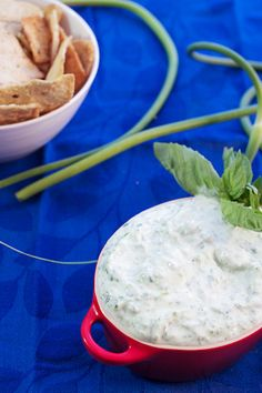 Garlic Scape Dip #SundaySupper | The Girl in the Little Red Kitchen