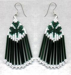 Items similar to St. Patrick's Day Green Fringe Beaded Clover Earrings on Etsy
