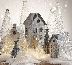 Galvanized Trees and galvanized metal village houses - Pottery Barn Christmas decor Silver Christmas, Rustic Christmas, Christmas Home, Christmas Holidays, Christmas Crafts, Christmas Ideas, Christmas Mantles, Victorian Christmas, Christmas Quotes
