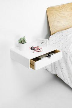 Drijvende White nachtkastje / Nachtkastje / Drawer   Etsy