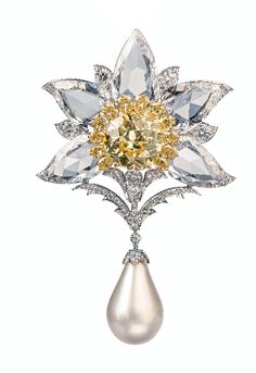 Viren Bhagat. Yellow diamond, diamond & pearl drop brooch.