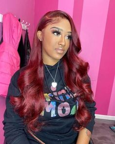 Red Wigs Lace Frontal Wigs Red Wig With Bangs Dirty Blond Wig Colored Lace Front Wigs Human Hair Burgundy Closure Wig Red Hair Brown Eyes Afro Hair Wigs, Curly Wigs, Red Curly Wig, Human Hair Wigs, Wig Styles, Curly Hair Styles, Red Hair Brown Eyes, Burgundy Hair Black Girl, Vibrant Red Hair