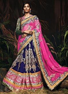 Royal Blue And Rani Color Designer Wedding Lehenga Choli