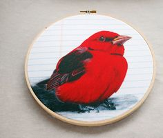 Embroidery Hoop Art - Scarlet Tanager wall hanging by Jennifer Johansson, $26.00