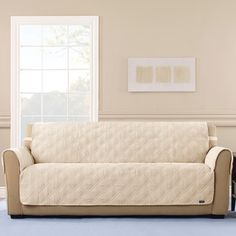 Cream Variegated Corduroy Sofa Cover