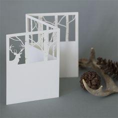 through the woods tri-fold | plane paper | laser-cut stationery