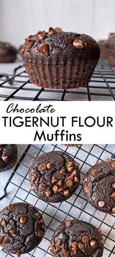 These mint chocolate chip tigernut muffins are made with tigernut flour and sweetened with a hint of maple syrup and mini chocolate chips. They have a refreshing minty flavor, and are Paleo, gluten free and nut free. #tigernutflour #tigernuts #mintmuffins Gluten Free Snacks, Gluten Free Breakfasts, Paleo Chocolate, Mint Chocolate Chips, Flour Recipes, Snack Recipes, Healthy Meals For Kids, Healthy Food, Tigernut Flour
