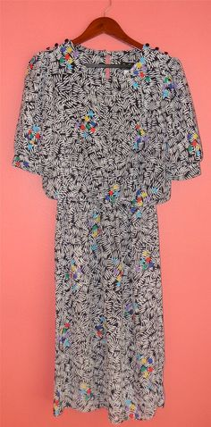 Vintage Dress 80s Short Sleeve Abstract by PinkCheetahVintage, $20.00