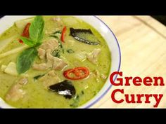 Thai Green Curry Recipe แกงเขียวหวาน – Hot Thai Kitchen Fish Recipes video recipe – The Most Practical and Easy Recipes Thai Green Chicken Curry, Thai Green Curry Recipes, Coconut Curry Chicken, Thai Recipes, Asian Recipes, Chicken Recipes, Thai Cooking, Asian Cooking, Cooking Recipes