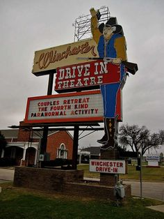 Winchester Drive-In Theater in OKC! Drive Inn Movies, Drive In Movie Theater, Outdoor Theater, Theater Seating, Best Home Theater, Movie Night Party, Retro Advertising, Old Signs, About Time Movie