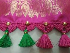Simple Saree Kuchu | Quick and Easy - YouTube Saree Kuchu New Designs, Saree Tassels Designs, Pattu Saree Blouse Designs, Blouse Designs Silk, Tatting Necklace, Hand Work Blouse Design, Wedding Silk Saree, Simple Sarees, Flower Embroidery Designs