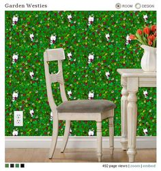 Why not bring the garden indoors with Garden Westie wallpaper by KiniArt at Spoonflower.com