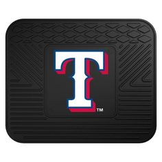 MLB Texas Rangers Black Heavy Duty 14 in. x 17 in. Vinyl Utility Mat