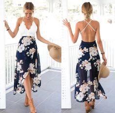 Floral Print Chiffon Dress Patchwork Lace