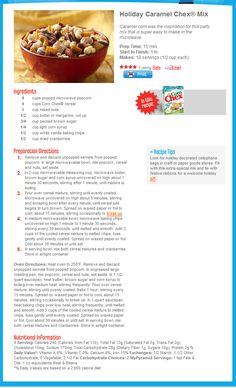 Holiday Caramel Chex® Mix - http://www.chex.com/Recipes/RecipeView.aspx?RecipeId=42426=342