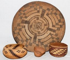VINTAGE NATIVE AMERICAN, HAND WOVEN, BOWLS