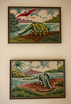 These vintage dinosaur needlepoint pieces are...awesome.