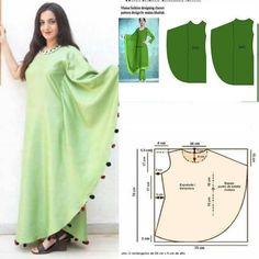 Dress Sewing Pattern - DIY Kaftan - no tutorial - craftIdea.org