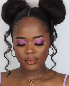 Purple makeup look Black Makeup Tips, Makeup For Black Skin, Purple Makeup Looks, Black Girl Makeup, Girls Makeup, Pink Makeup, Dewy Skin Makeup, Face Makeup, Maquillage Black