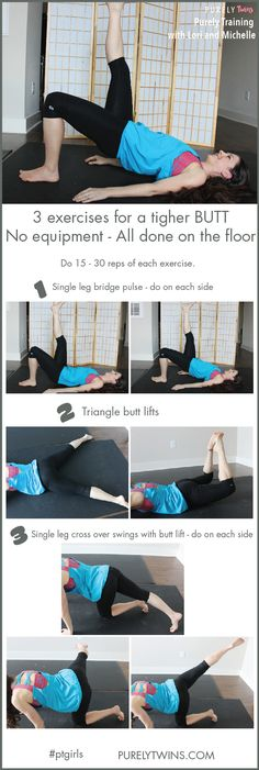 Hey ladies!! Get ready to firm up that butt. 3 moves for a tighter booty. No equipment needed. You can do them all on the floor. A great workout to do anywhere and anytime. Great butt exercises to tone up your butt at home!