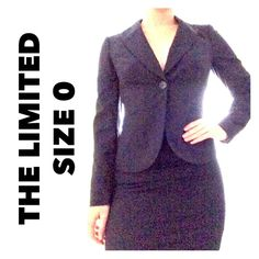 The Limited Collection Navy Blue Skirt and Blazer Size 0 / skirt and blazer suit / dark navy blue color / blazer measurements, bust 17 inches, length 24 inches / pencil skirt measurements, waist 14 inches, hips 18 inches, length 21 inches / both pieces are fully lined / great condition The Limited Skirts Pencil