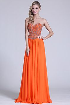 Glamorous Strapless Sweetheart Orange Prom Gown (C36151310)