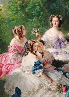 Franz Xaver Winterhalter -The Empress Eugénie Surrounded Her Ladies in Waiting (details), 1855