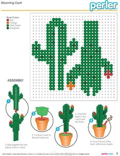 3D Cactus Perler Bead Pattern More