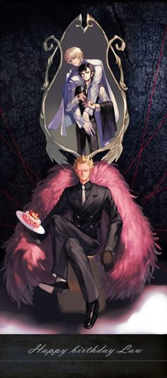 Suits - Trafalgar D. Water Law, Donquixote Doflamingo, and Donquixote Rocinante (Corazon), (Corasan, Cora-san) One piece art