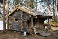 How To Build A Log Cabin, Small Log Cabin, Log Cabin Kits, Tiny Cabins, Little Cabin, Tiny House Cabin, Log Cabin Homes, Cabins And Cottages, Log Cabins