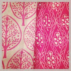 Fabric, pink, Mini Burchetts, Leaf & Wiggle