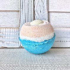 Beach Babe Bath Bomb, Beachy Bath Bomb,  Fair Trade Organic Cocoa and Shea Butter. Large 7+ Oz. Size