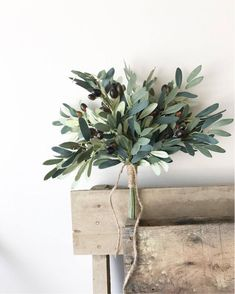 This rustic and organic looking olive leaf bouquet is perfect for any wedding, photoshoots, or gift! It features realistic faux olives and leaves. It will last time and time again! It is offered to be wrapped in lace at check out. Bride Bouquets, Bridesmaid Bouquet, Greenery Bouquets, Olive Branch Wedding, Branches Wedding, Tree Wedding Centerpieces, Olive Green Weddings, Wedding Flowers, Bouquet Wedding